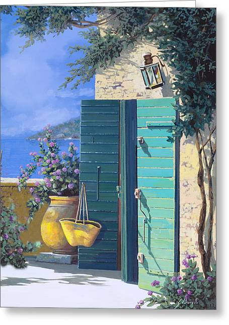 Terrace Greeting Cards - La Porta Verde Greeting Card by Guido Borelli
