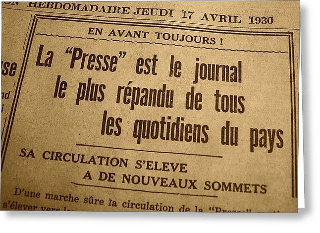 Antic Greeting Cards - La Presse - 17 Avril 1930 Greeting Card by Juergen Weiss
