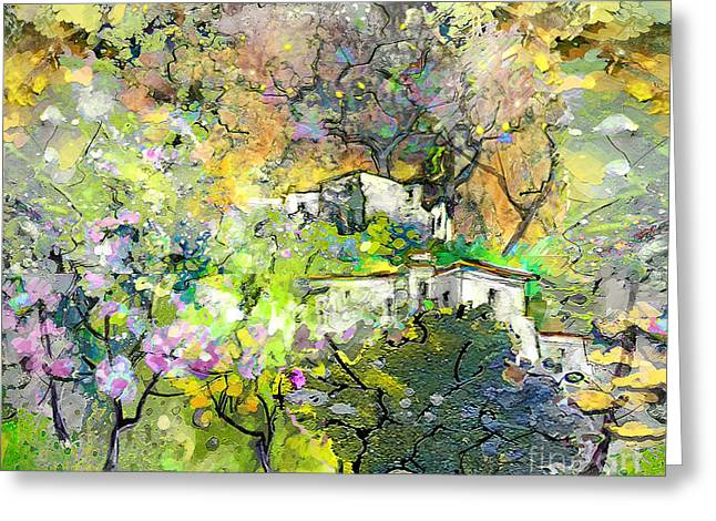 Provence Village Mixed Media Greeting Cards - La Provence 07 Greeting Card by Miki De Goodaboom