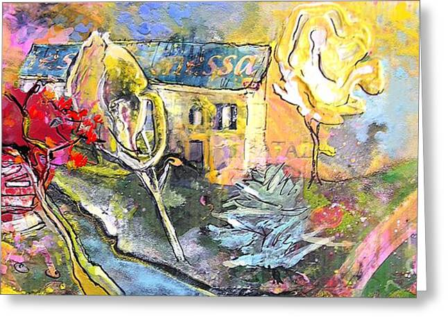 Provence Village Mixed Media Greeting Cards - La Provence 11 Greeting Card by Miki De Goodaboom