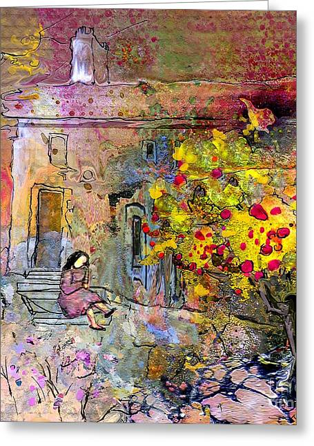 Provence Village Mixed Media Greeting Cards - La Provence 13 Greeting Card by Miki De Goodaboom