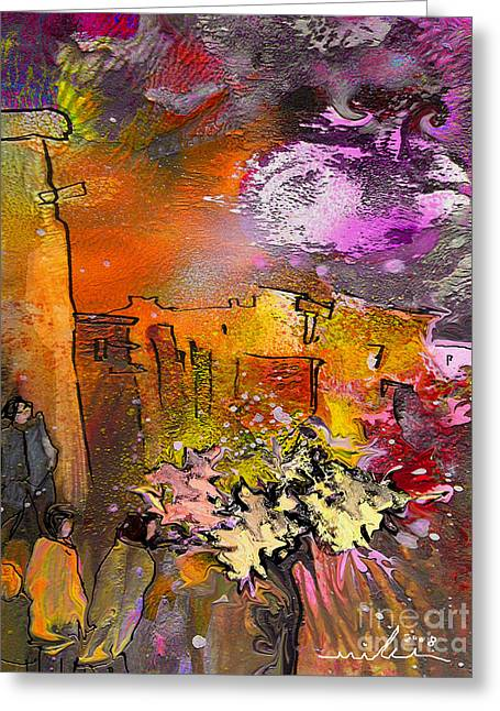 Provence Village Mixed Media Greeting Cards - La Provence 14 Greeting Card by Miki De Goodaboom