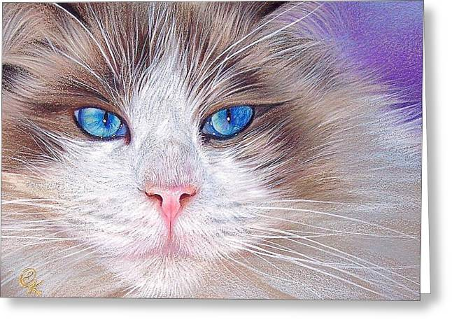 Cat Drawings Greeting Cards - La Puss Greeting Card by Elena Kolotusha