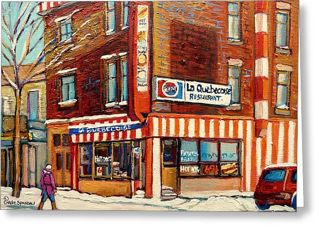 A Hot Summer Day Greeting Cards - La Quebecoise Restaurant Deli Greeting Card by Carole Spandau