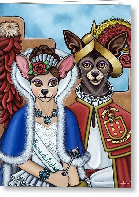 Chihuahua Dog Art Greeting Cards - La Reina Y Devargas Greeting Card by Victoria De Almeida