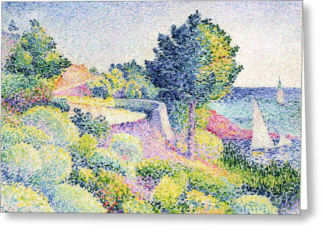 La Route Sur La Cote Greeting Card by Henri-Edmond Cross