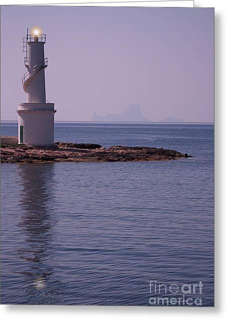 Ibiza Greeting Cards - La Sabina Lighthouse Formentera and the island of Es Vedra Greeting Card by John Edwards
