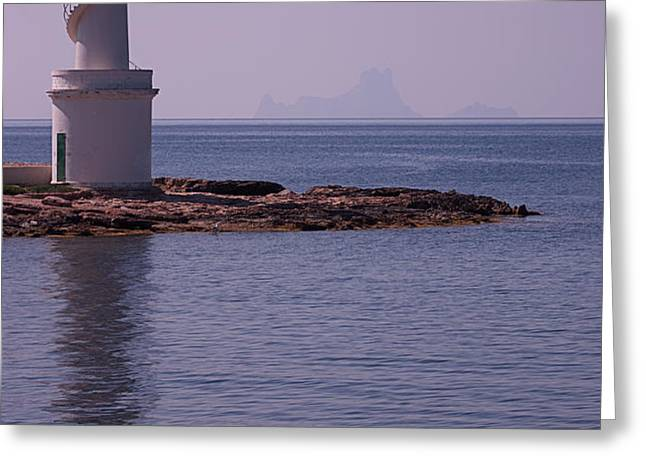 La Sabina Lighthouse Formentera and the island of Es Vedra Greeting Card by John Edwards