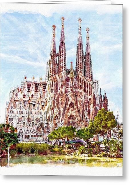 La Sagrada Familia Watercolor Greeting Card by Marian Voicu