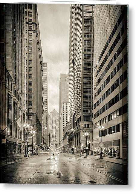 Christian Bale Greeting Cards - LaSalle Street Canyon With Chicago Board of Trade Building at the South Side - Chicago Illinois Greeting Card by Silvio Ligutti