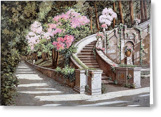 Stairs Greeting Cards - La Scalinata E I Fiori Rosa Greeting Card by Guido Borelli