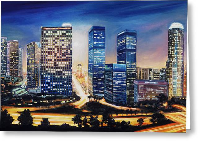 Los Angeles Freeways Greeting Cards - LA Skyline Greeting Card by Patrick Parker