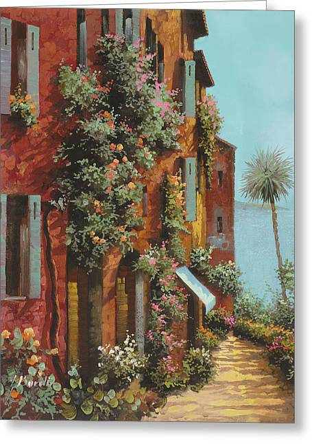 Yellows Greeting Cards - La Strada Verso Il Lago Greeting Card by Guido Borelli
