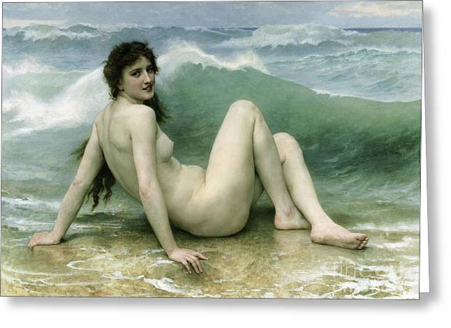 Ocean Shore Greeting Cards - La Vague Greeting Card by William Adolphe Bouguereau