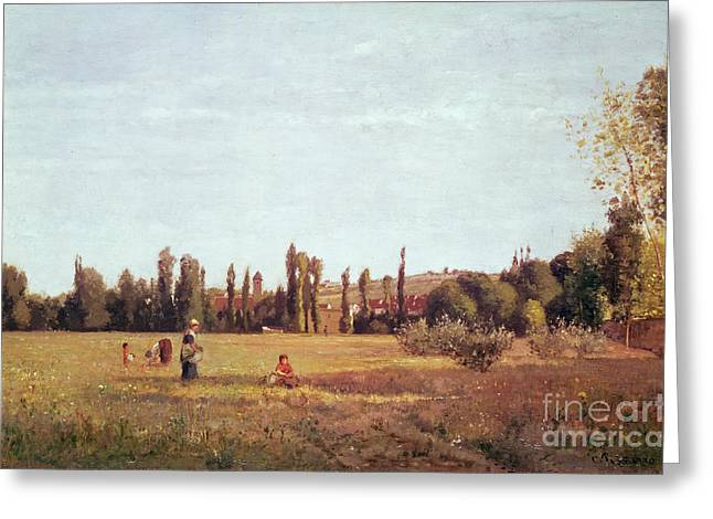 Field Workers Greeting Cards - La Varenne de St. Hilaire Greeting Card by Camille Pissarro