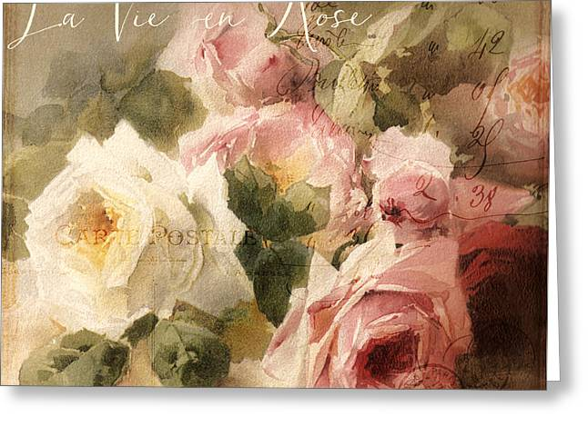 Vintage Rose Greeting Cards - La Vie en Rose Greeting Card by Mindy Sommers