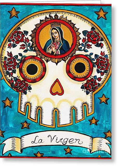 Calaveras Greeting Cards - La Virgen Greeting Card by Maryann Luera