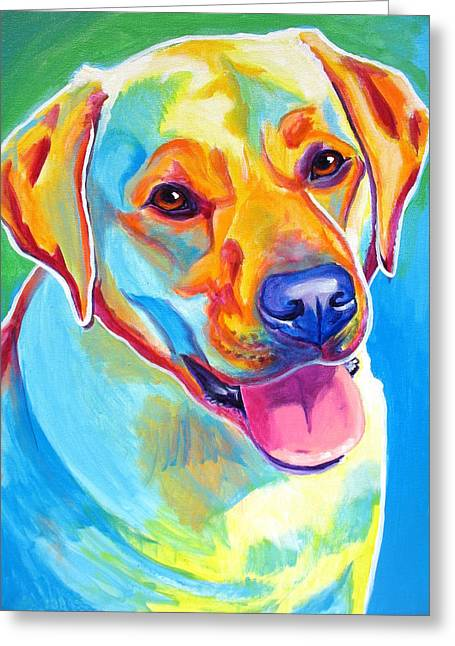 Yellow Dog Paintings Greeting Cards - Lab - May Greeting Card by Alicia VanNoy Call