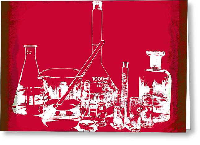 Medical Greeting Cards - Lab Glass Red Greeting Card by Daniel Hagerman