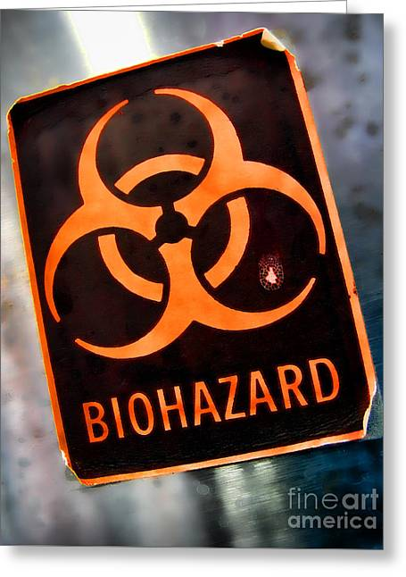 Label Greeting Cards - Laboratory Biohazard Danger Warning Label Greeting Card by Olivier Le Queinec