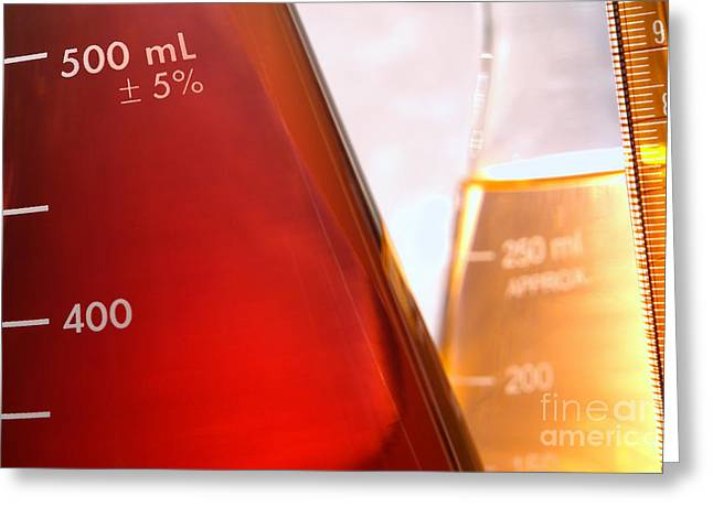 Flask Greeting Cards - Laboratory Conical Flasks in Science Research Lab Greeting Card by Olivier Le Queinec