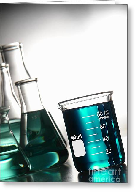 Experiment Greeting Cards - Laboratory Glassware in Science Research Lab Greeting Card by Olivier Le Queinec