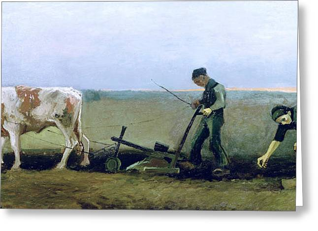 Farmers Field Greeting Cards - Labourer and Peasant  Greeting Card by Vincent van Gogh