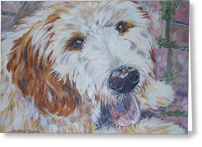 Mixed Labrador Retriever Greeting Cards - Labradoodle Greeting Card by Andrea Agresta