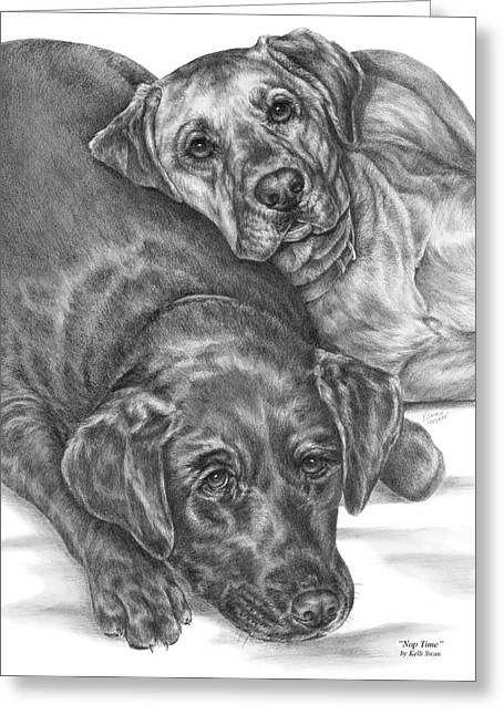 Lab Drawings Greeting Cards - Labrador Dogs Nap Time Greeting Card by Kelli Swan