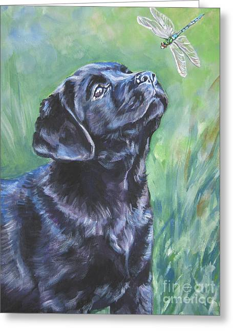 Black Lab Puppy Greeting Cards - Labrador Retriever pup and dragonfly Greeting Card by L A Shepard