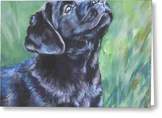 Labrador Retriever pup and dragonfly Greeting Card by L A Shepard