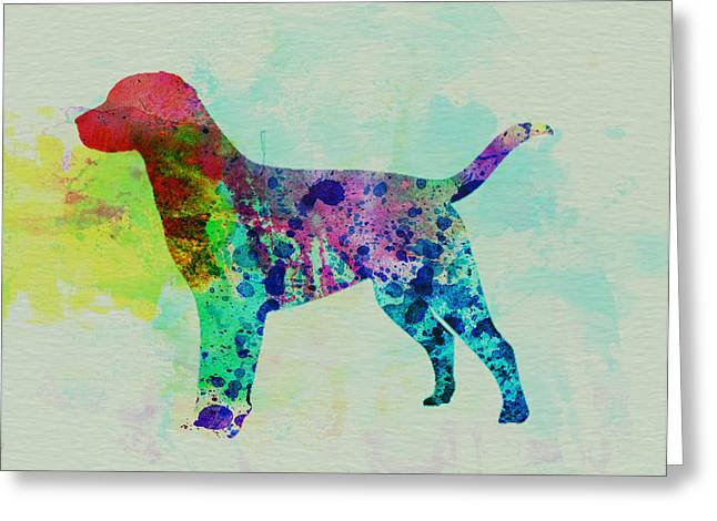 Pet Greeting Cards - Labrador Retriever Watercolor Greeting Card by Naxart Studio