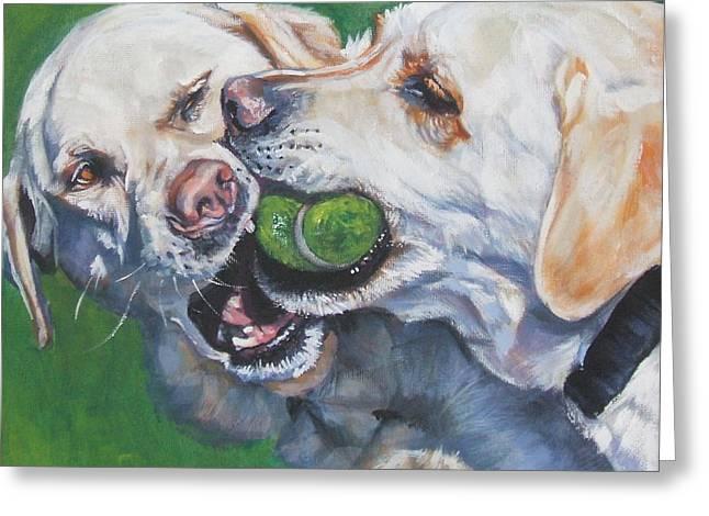Best Friend Greeting Cards - Labrador Retriever Yellow Buddies Greeting Card by L A Shepard