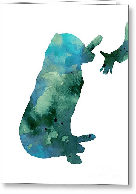 Illustration Jewelry Greeting Cards - Labrador silhouette artwork watercolor painting Greeting Card by Joanna Szmerdt