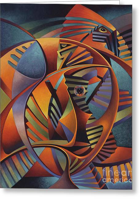 Spheres Paintings Greeting Cards - Labrynth No. III Greeting Card by Ricardo Chavez-Mendez