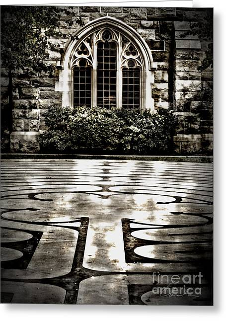 Stainglass Greeting Cards - Labyrinth Greeting Card by Danuta Bennett