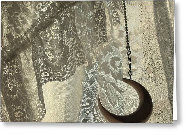 Lace Curtains Greeting Cards - Lace and Crescent - antiqued Greeting Card by ShaddowCat Arts - Sherry