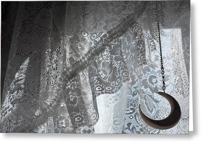 Lace Curtains Greeting Cards - Lace and Crescent - white Greeting Card by ShaddowCat Arts - Sherry