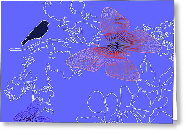 Lace Trim Greeting Cards - Lace Blue Greeting Card by Debra     Vatalaro