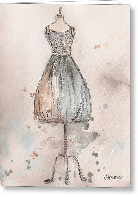 Recently Sold -  - Loose Greeting Cards - Lace Champagne Dress Greeting Card by Lauren Maurer