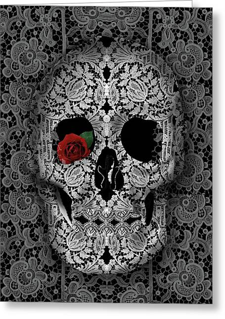 Lace Skull Black Greeting Card by Bekim Art