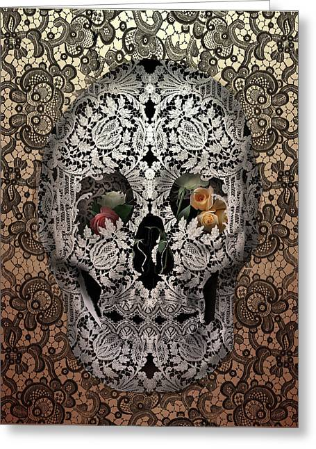 Lace Skull Sepia Greeting Card by Bekim Art