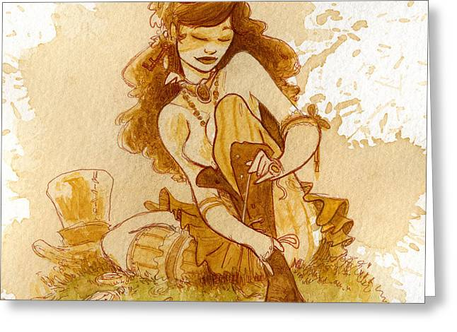 Steampunk Greeting Cards - Laces Greeting Card by Brian Kesinger