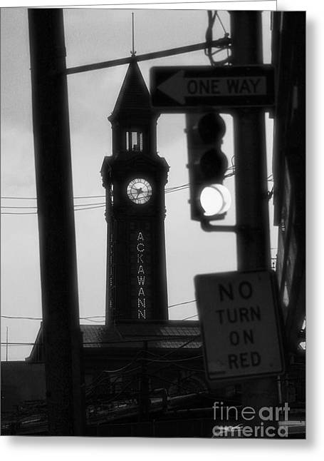 Pan Cakes Greeting Cards - Lackawanna Clock Tower Black and White 2 Greeting Card by Marina McLain