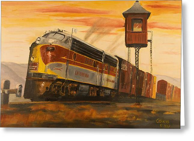 Freight Train Greeting Cards - Lackawanna Fast Freight Greeting Card by Christopher Jenkins