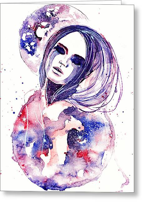 European work Drawings Greeting Cards - Lacrima Nebula  Greeting Card by Alexandra-Emily Kokova