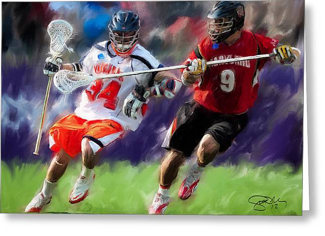 Lacrosse Greeting Cards - Lacrosse Close D Greeting Card by Scott Melby