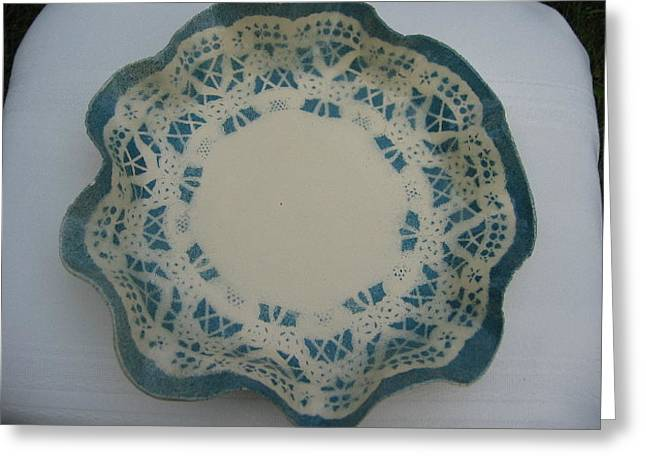Free-form Ceramics Greeting Cards - Lacy Platter Greeting Card by Julia Van Dine