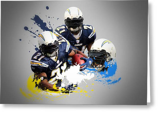 Chargers Greeting Cards - Ladainian Tomlinson Chargers Greeting Card by Joe Hamilton