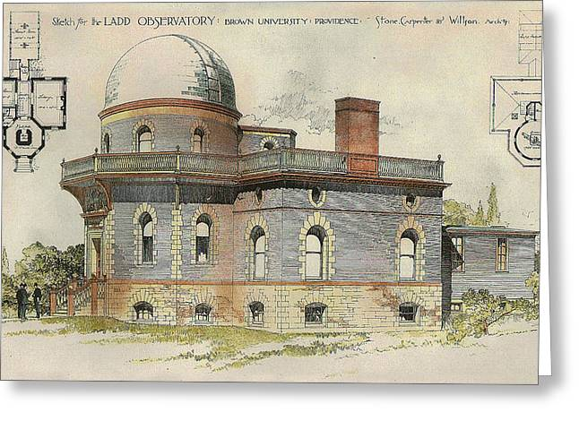 Hand-colored Greeting Cards - Ladd Observatory Brown University Providence RI 1890 Greeting Card by Stone Carpenter Wilson